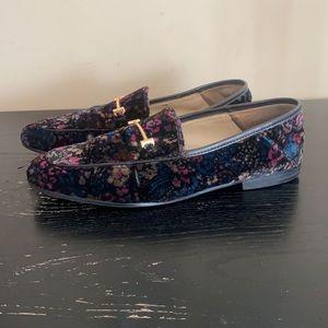Sam Edelman Black Floral Velvet Lior Loafers 7.5